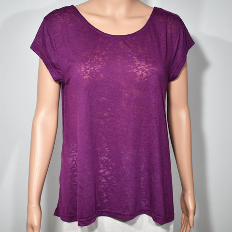 Womens Back Dippy Burnout Short Sleeve Top - Deshanee Dress Point - mylife-sa.myshopify.com