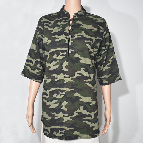 Camouflage Printed Half Sleeve Women Blouse - Deshanee Dress Point - mylife-sa.myshopify.com