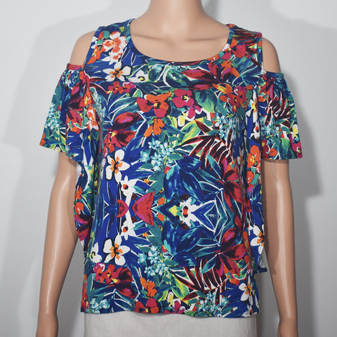 Cut Away Sleeve Printed O-neck Women T-shirt