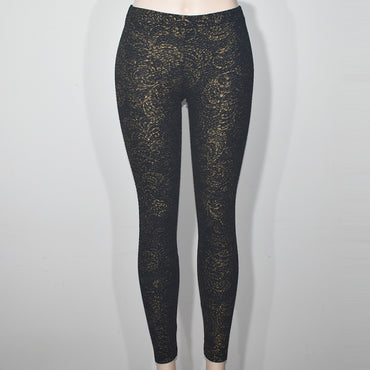 (Wholesale Only) Gold Printed Black Women Skinny Leggings