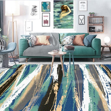 Fashion modern Abstract art watercolor Green leaf Bedroom bedside rug living room carpet kitchen non-slip floor mat plush mat - My Life