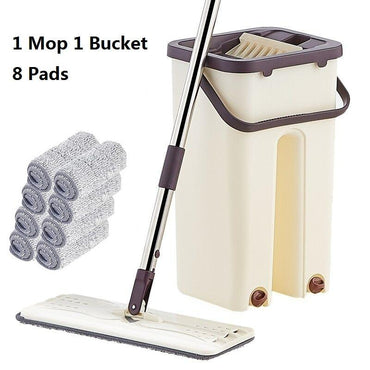 Flat Squeeze Mop and Bucket Hand-Free Wringing Floor Cleaning Mop Wet or Dry Usage Magic Automatic Spin Self Cleaning Lazy Mop - My Life