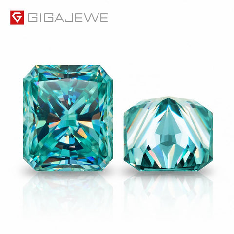 (Global Shop) Cyan Color Radiant Cut Moissanite Loose Diamond