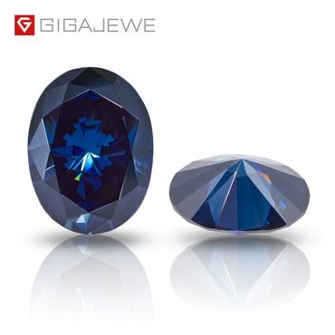 (Global Shop) Oval Dark Blue Color Growth Moissanite Diamond