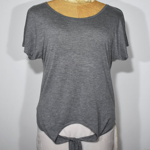 Tie Up Crop Short Sleeves Solid Color Womens T-Shirt - Deshanee Dress Point - mylife-sa.myshopify.com