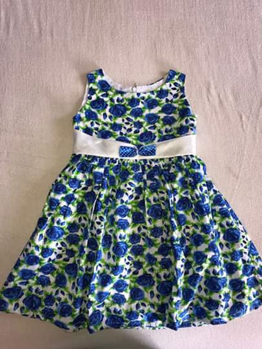 (Wholesale Only) Flower Printed Sleeveless Kid Girls Dress