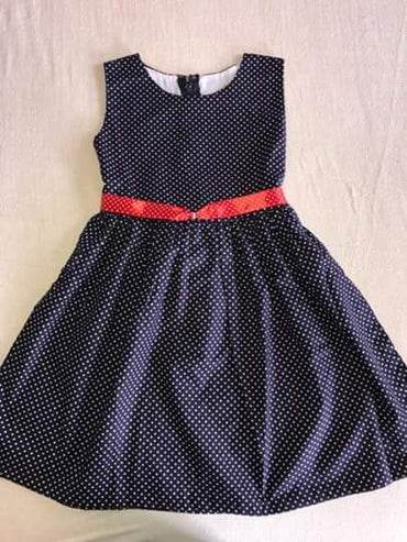Sleeveless O-neck Dot Printed Kids Girls Dress