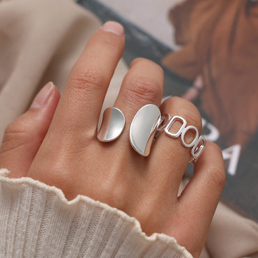 (Global Shop) Silver Color Punk Hollow Geometric Women's Rings