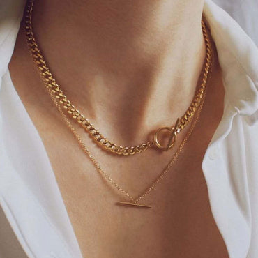 (Global Shop) Fashion Layered Vintage Double Chain Pendant Necklace