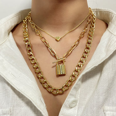 (Global Shop) Punk Heavy Metal Twist Thick Chain Necklace