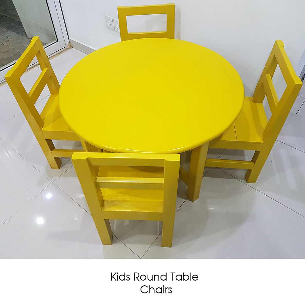 Yellow Color Painted Kids Round Table & Chairs