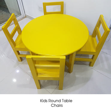 Yellow Color Painted Kids Round Table & Chairs - Jaydy Furniture - mylife-sa.myshopify.com