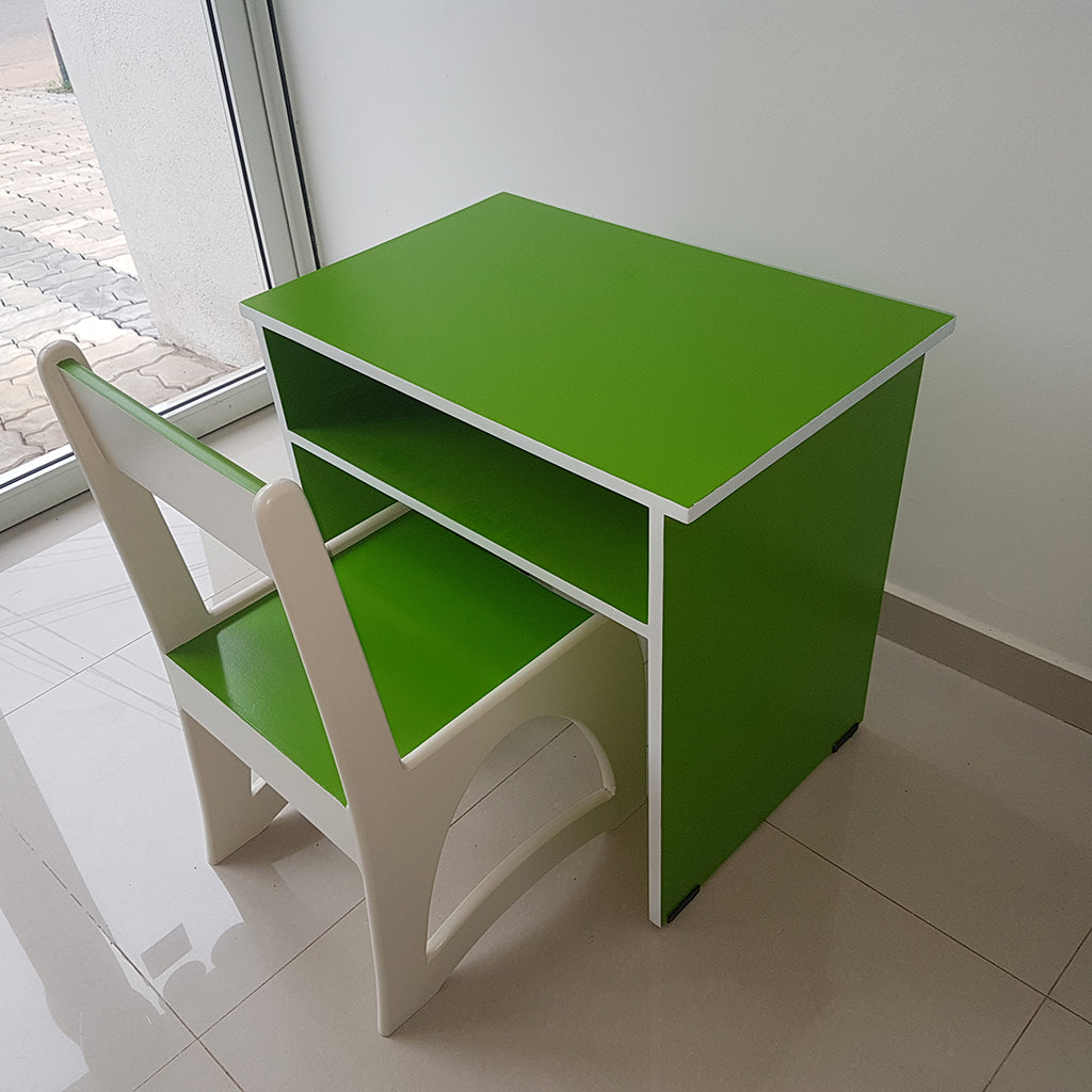 Green Color Painted MDF Kids Desk & Chair