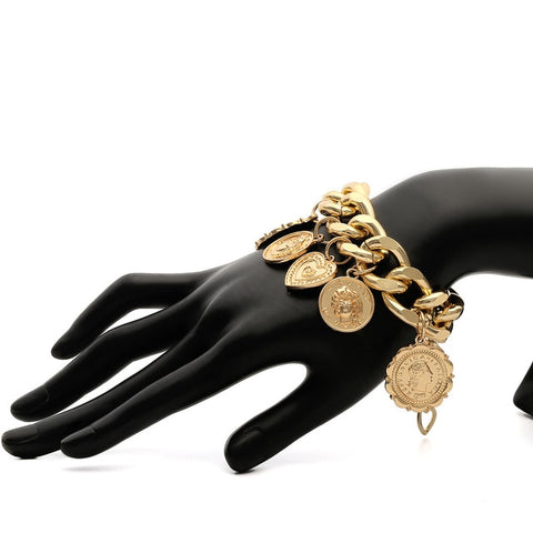 (Global Shop) Big Bracket Punk Chain Coins Hip Hop Bracelet - My Life