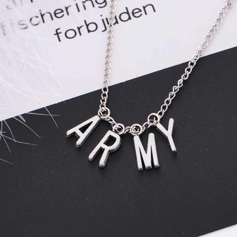 (Global Shop) Alloy ARMY Letter Necklace For Women