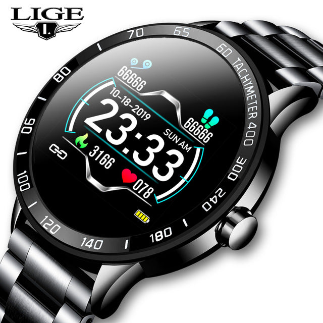 LIGE New Steel Belt Smart Watch Men Heart Rate Blood Pressure Health Monitoring Sport Waterproof Smartwatch fitness tracker+Box - My Life