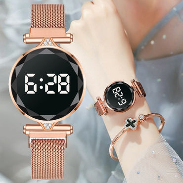 (Global Shop) Luxury Digital Magnet Stainless Steel Women Watches