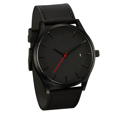 (Global Shop) Luxury Leather Ultra-Thin Stainless Steel Men Watch