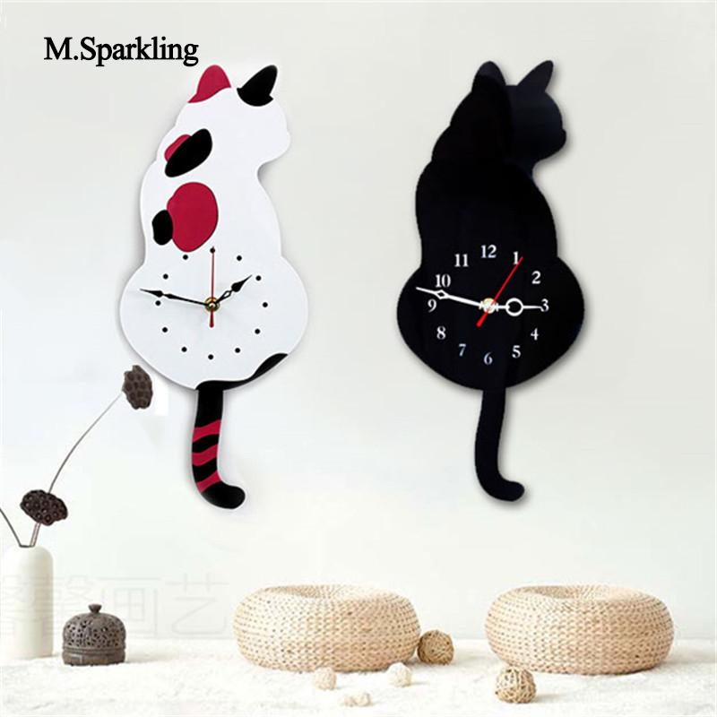 M.Sparkling creative mute wall clock cartoon Torn Tail Cat Wall Clock digital acrylic wall decoration cute gift for childs - My Life