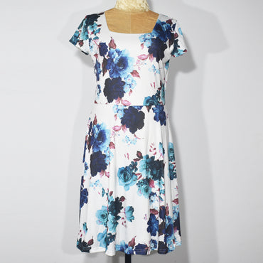 Flower Printed Short Sleeves Square Neck Women Dress - Deshanee Dress Point - mylife-sa.myshopify.com