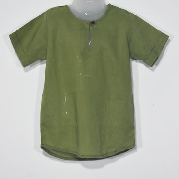 Solid Color Short Sleeves Kids Boys Kurta Top