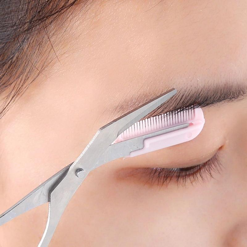 (Global Shop) Eyelash Combing Eyebrow Trimmer Scissors With Comb - My Life