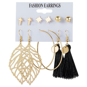 (Global Shop) New Women's Set Tassel Pearl Acrylic Earrings