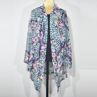 Flower Printed Long Sleeve Women Cardigan