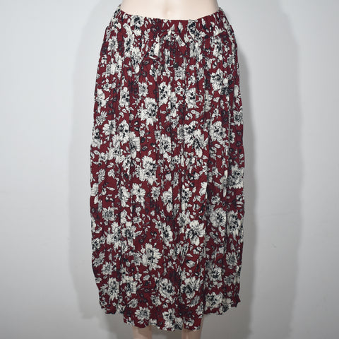 Flower Printed Elastic Waist Women Skirts