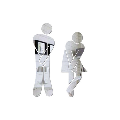(Global Shop) Removable Cute Man Woman Washroom Wall Sticker