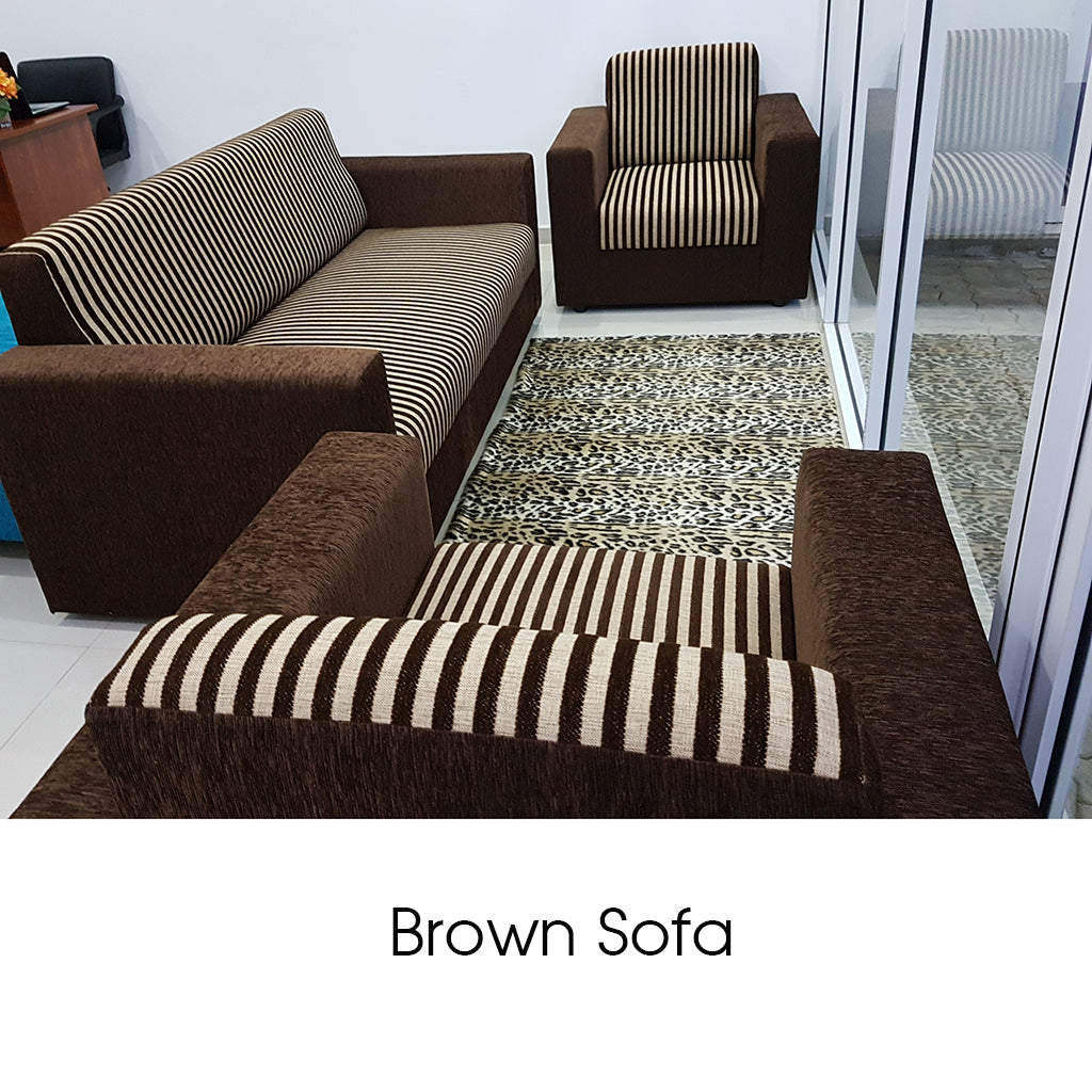 Treated MDF Stripe Brown Sofa