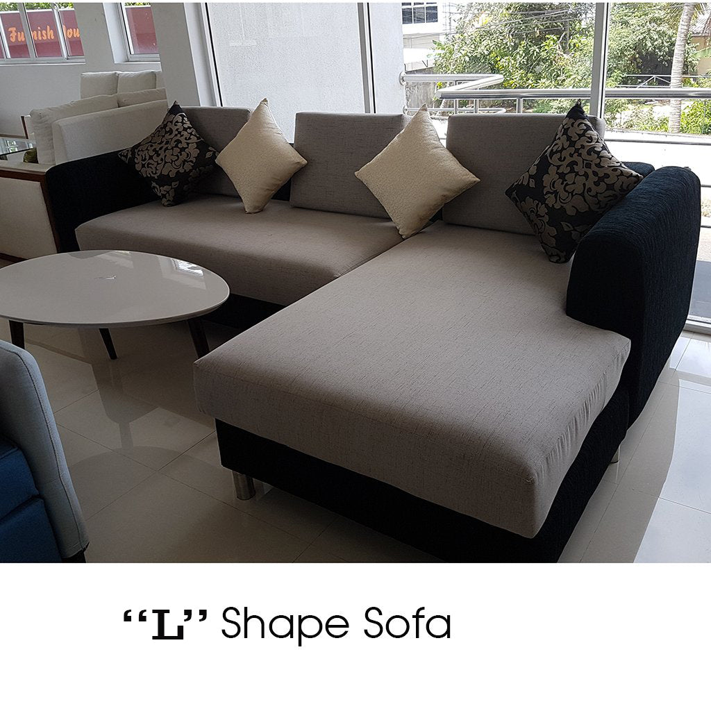 "Ginisapu Wood & HS Fabric ""L"" Shape Sofa - Jaydy Furniture - mylife-sa.myshopify.com"