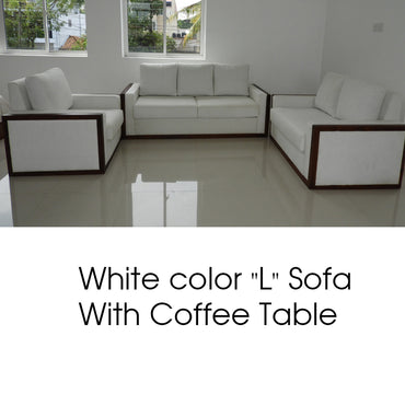 "White Color ""L"" Sofa with Coffee Table"