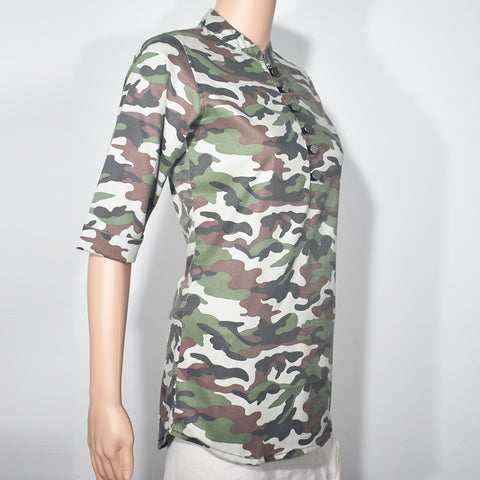 Camouflage Printed Half Sleeve Women Blouse