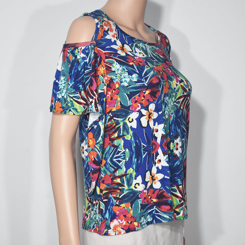 Cut Away Sleeve Printed O-neck Women T-shirt - Deshanee Dress Point - mylife-sa.myshopify.com