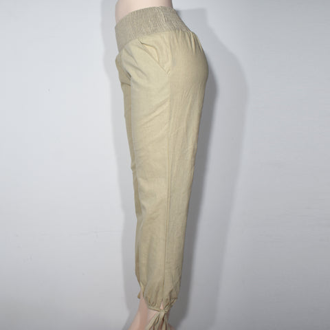 Womens Solid Color Smocked Waist Linen Pocket Pant - Deshanee Dress Point - mylife-sa.myshopify.com