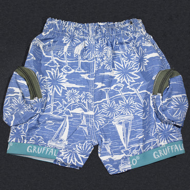 Light Blue Elastic Waist Kids Boys Short