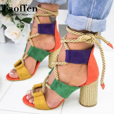 (Global Shop) Summer Square Heel Women Sandals Heel Shoes