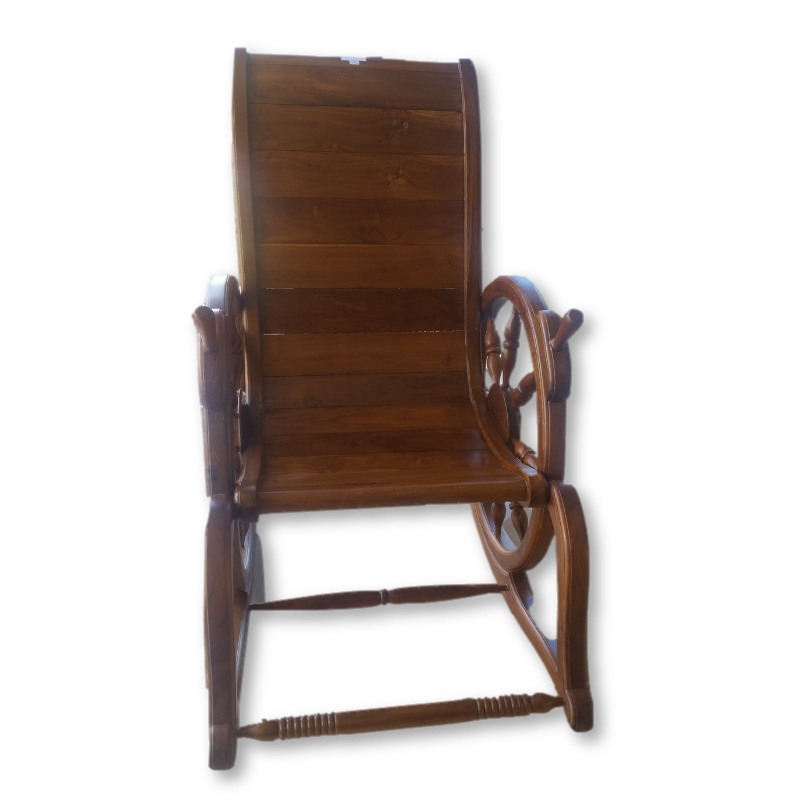 Teak High Back Rocking Chair
