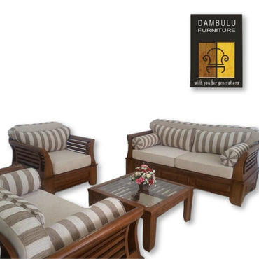 Stripped Textile Covered Cushion Teak Sofa Set - Dambulu Furniture - mylife-sa.myshopify.com