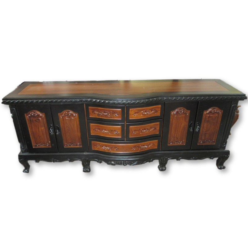 Black Mixed Antique Style Elegant Teak Cupboard