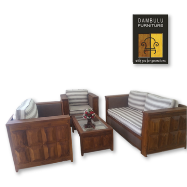 Striped Cushion Classic Teak Wood Sofa Set 01