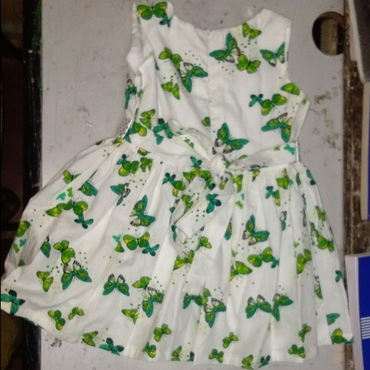 Lace Cotton Butterfly Print Girls Dress