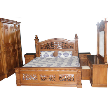 Antique Style Teak Wood Bedroom Set 01 - Dambulu Furniture - mylife-sa.myshopify.com