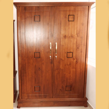 Brown Color Teak Wood Wardrobe - Jaydy Furniture - mylife-sa.myshopify.com