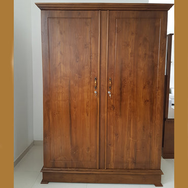 Brown Color Teak Wood Two Doors Wardrobe - Jaydy Furniture - mylife-sa.myshopify.com