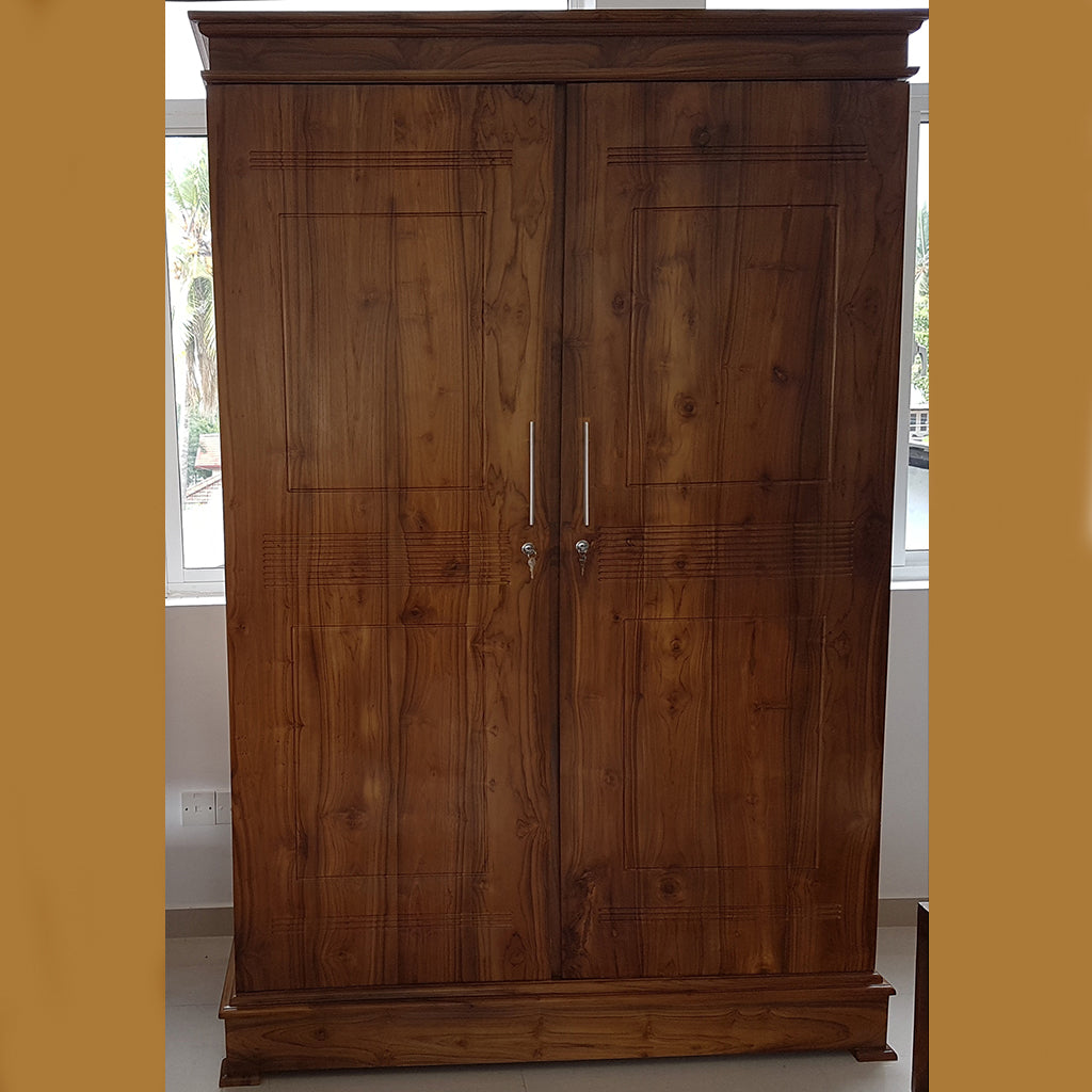 Two Doors Dark Brown Teak Wood Wardrobe - Jaydy Furniture - mylife-sa.myshopify.com