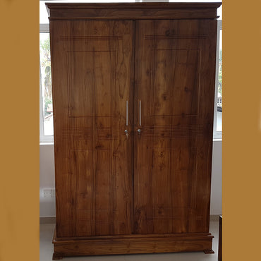 Two Doors Dark Brown Teak Wood Wardrobe