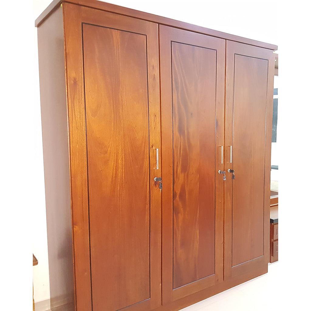 Three Doors Light Brown Treated Mahogany Wardrobe - Jaydy Furniture - mylife-sa.myshopify.com