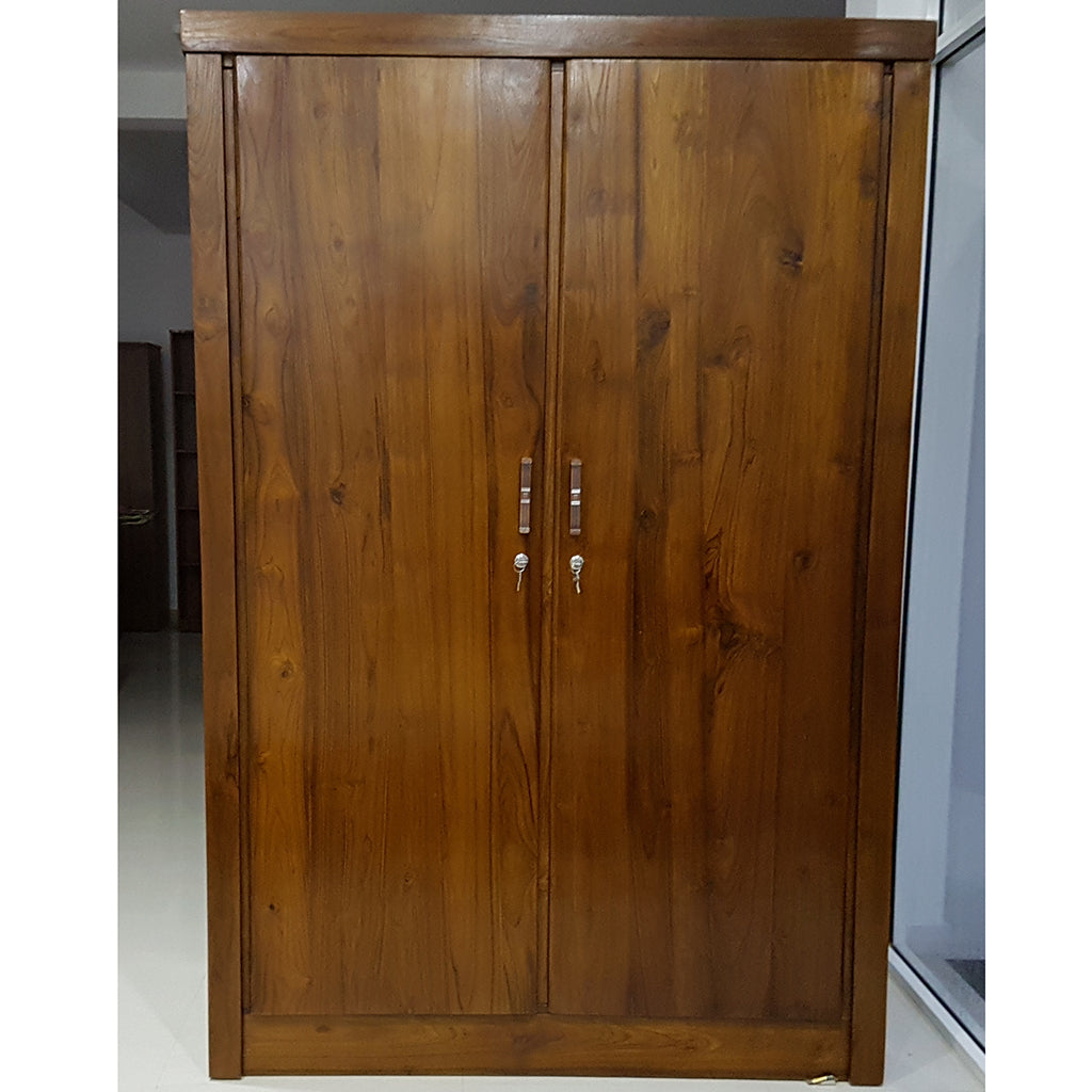 Two Doors Brown Color Teak Wood Wardrobe 2
